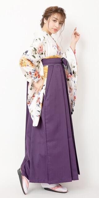 【着物】グレーに金松扇+【袴】キンチャライン紐市松