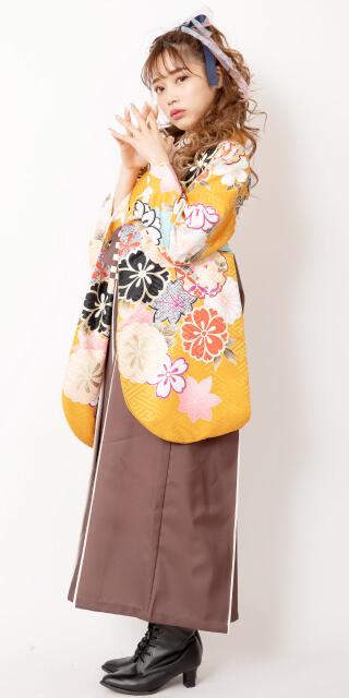 【着物】からし地大桜+【袴】チャイロライン紐市松