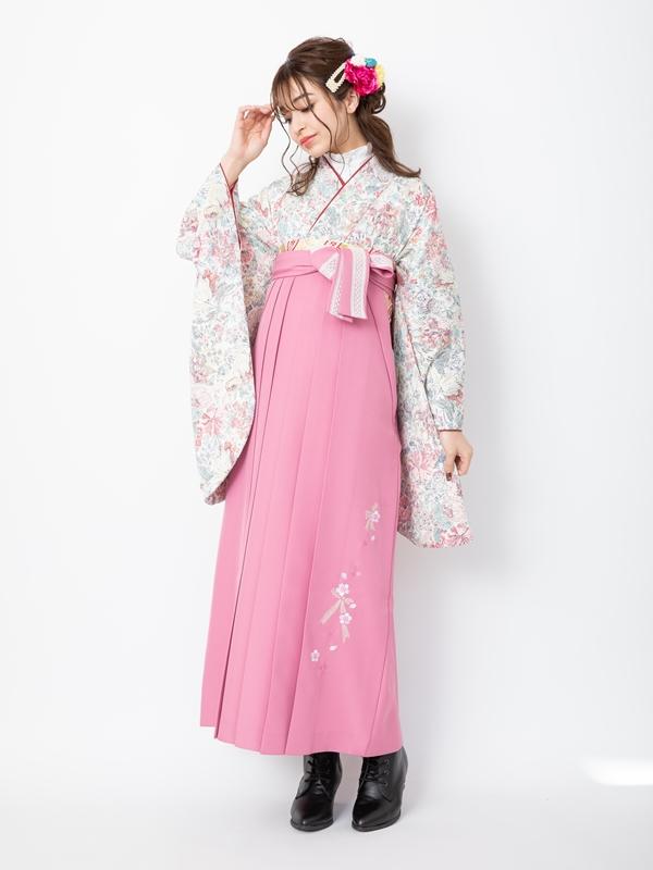 【着物】白ちりめん小花散し+【袴】ピンクレースリボン