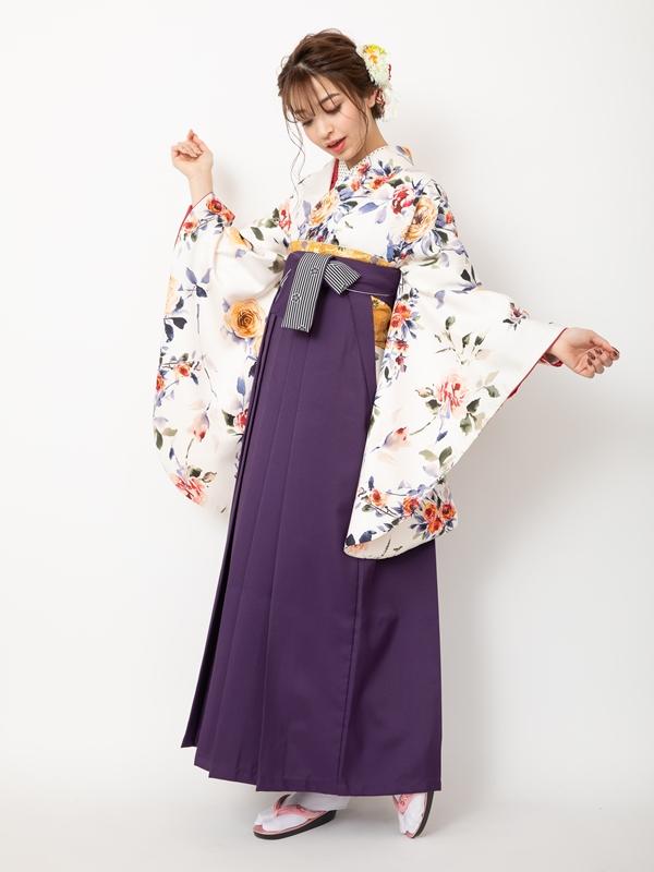 【着物】白地洋バラ+【袴】ムラサキ梅ひも縞